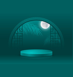 Asian style background template with podium vector