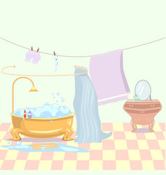 Bathroom with drawers and blue curtains vector