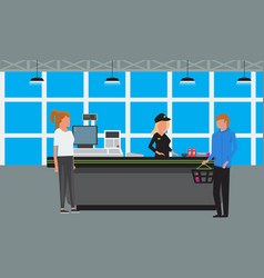 big supermarket or mall interior scene vector image