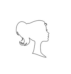 black profile contour silhouette of young girl or vector image