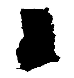 black silhouette country borders map of ghana on vector image