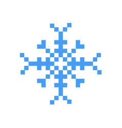 blue winter snowflake pixel art cartoon retro game vector image