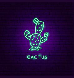 Cactus neon label vector