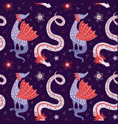 Cartoon chinese dragon fairy tale seamless pattern vector