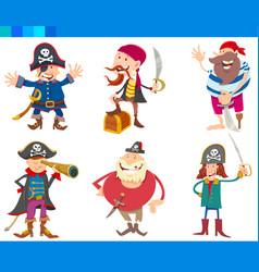 cartoon fantasy pirates characters set vector image