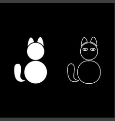 cat icon set white color flat style simple image vector image