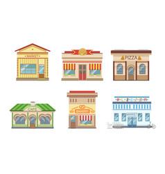 city public buildings facades set market pizza vector image