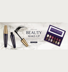 Cosmetic eye shadow palette mascara tubes brush vector