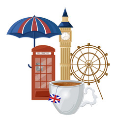 cup of tea and london symbols and architecture on vector image
