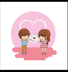 cute little couple with envelope message in hands vector image