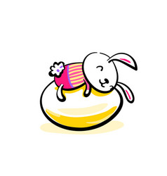 cute smiling easter bunny lying on the egg happy vector image