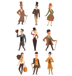 Design victorian people vector