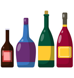 Different bottles alcohol alcoholic drinks of vector