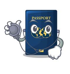 Doctor blue passport in the cartoon form vector