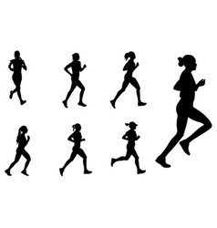 Female marathon runners silhouettes vector