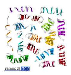 festive colorful ribbons on white vector image