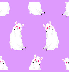 funny cartoon pattern with cute llamas vector image