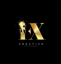 Fx f x letter logo with gold melted metal splash vector