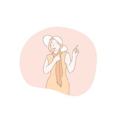 gesture pointing advertisement putting vector image
