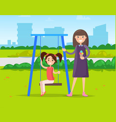 Girls in park on swing playground and ice cream vector