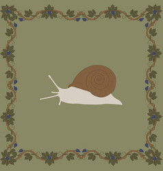 grape snail color in medieval floral vector image
