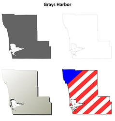 Grays Harbor Map Icon Set vector