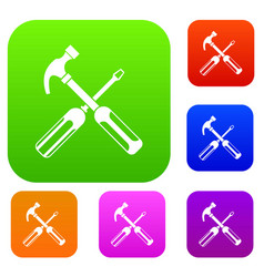 Hammer and screwdriver set collection vector