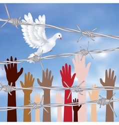Hands Behind a Barbed Wire3 vector image