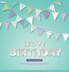 happy birthday greeting design paper cut style vector image
