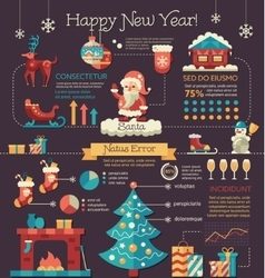 Happy New Year - poster brochure cover template vector image