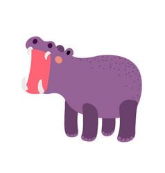 Hippopotamus opening mouth animal cartoon vector