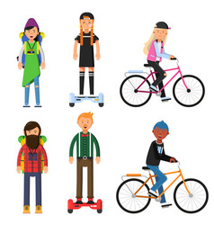 Hipsters make a trip bicycles riders vector