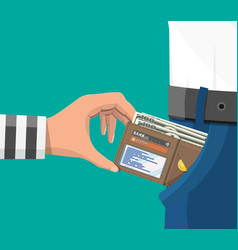 Human hand takes money cash from pocket vector