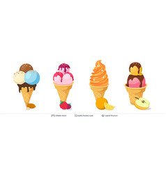 Ice cream refreshing desserts set on white vector