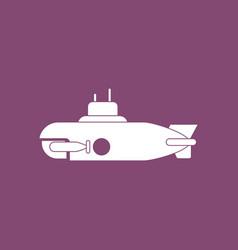 Icon military submarine silhouette vector