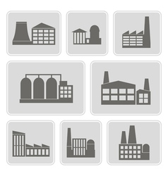 icons with different industrial buildings vector image