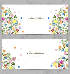 invitation cards with cute floral for your design vector image