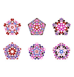 Isolated colorful ornate stone pentagon polygon vector