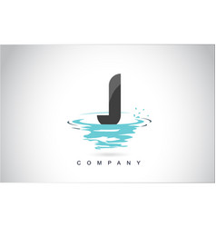 j letter logo design with water splash ripples vector image