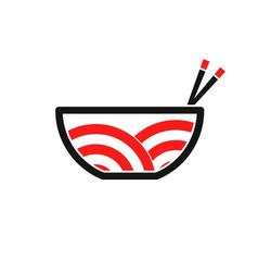japanese ramen noodle logo template vector image