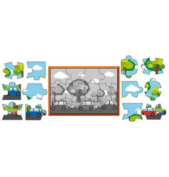 Jigsaw puzzle game with cars on the road vector