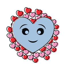kawaii hearts design concept vector image