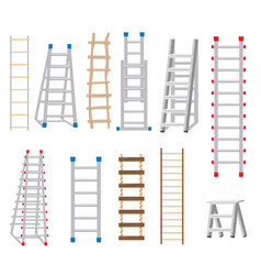 Ladders set made from different materials wood vector