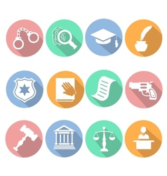 Law and judgment legal justice icon flat set vector