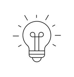 Light bulb shining icon on white background vector