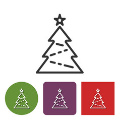 Line icon of christmas tree in different variants vector