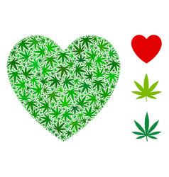 love heart collage of cannabis vector image