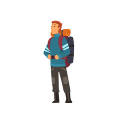 Man with backpack hiking adventure travel vector