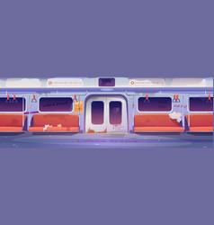 Metro in getto empty subway interior with graffiti vector