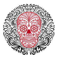 Mexican sugar skulls with circular floral pattern vector